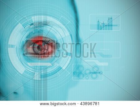Close up of woman eye analyzing chart interfaces with datas on blue background