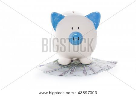 Hand painted blue and white piggy bank on pile of euros on white background