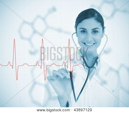 Doctor holding stethoscope up to red ECG line on chemical formula background