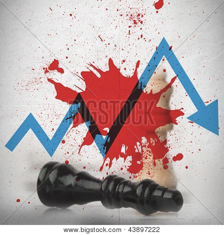 Blood spatter on wall with blue loss arrow and fallen black chess piece