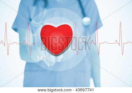 Nurse in scrubs touching red ECG line with heart graphic on white background