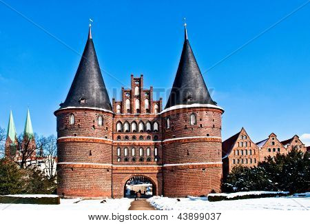 The Holstentor, famous landmark in Luebeck in North Germany