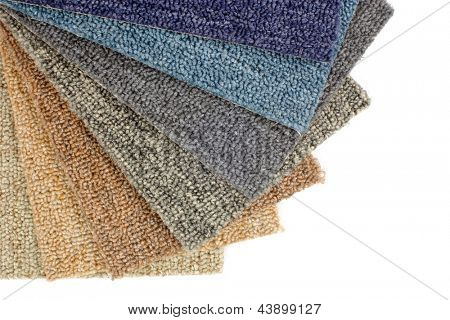 Photo of colorful carpet samples