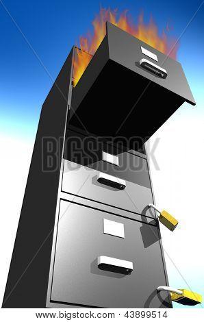 Photo of File Cabinet Burning