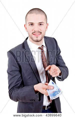 young business man with money over white background