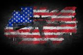 image of m16  - Poster M16 rifle on a background of the American flag - JPG