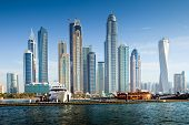 stock photo of dubai  - Luxurious Residence Buildings in Dubai Marina UAE - JPG
