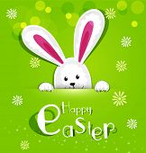 picture of rabbit hole  - Vector Easter bunny looking out a green background - JPG