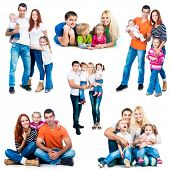 image of little sister  - set photos of a happy smiling families isolated on white background - JPG