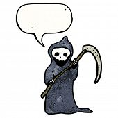 death with speech bubble and scythe