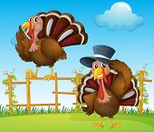 stock photo of bird fence  - Illustration of a turkey above the wooden fence and a turkey wearing a hat - JPG