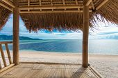 image of off-shore  - Seaview from bamboo hut on beach on Gili Air island - JPG