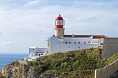 Lighthouse from Cabo Vicente near Sagres in Portugal