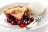 stock photo of cherry pie  - cherry pie with ice cream - JPG
