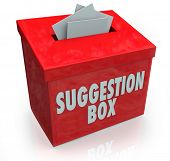 image of submissive  - A red Sugestion Box with notes of paper stuffed into its slot offering feedback - JPG