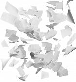 Many flying business documents isolated on white