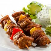 pic of gyro  - Grilled meat and vegetables - JPG