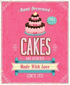 stock photo of fancy cakes  - Vintage Cakes Poster - JPG