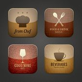 Food and drink application icons, restaurant theme
