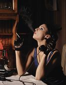stock photo of mobsters  - Woman portrait  in retro style - JPG