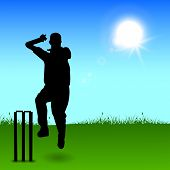 stock photo of bowler  - Silhouette of a cricket bowler throwing ball in evening background - JPG