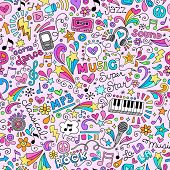 stock photo of g clef  - Music Rock and Roll Star Seamless Pattern Groovy Notebook Doodles - JPG