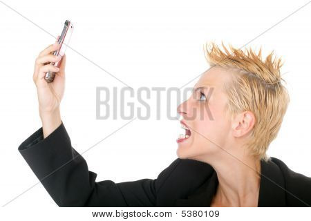 Business Woman Yelling At Phone