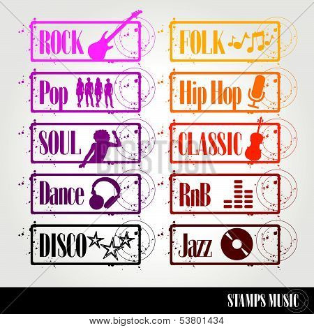 stamps of music style