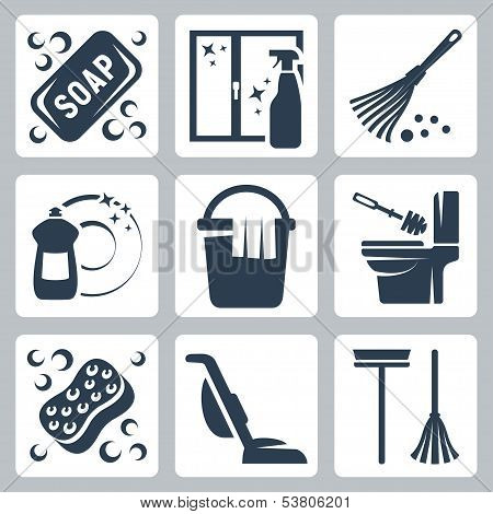 Vector Cleaning Icons Set: Soap, Window Cleaner, Duster, Dishwashing Liquid, Bucket And Cloth, Toile