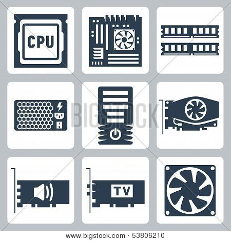 Vector Hardware Icons Set: Cpu, Motherboard, Ram, Power Unit, Computer Case, Video Card, Sound Card,