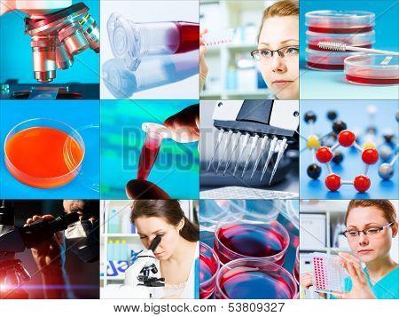 scientific design elements Collage - microbiology, genetics, scientists