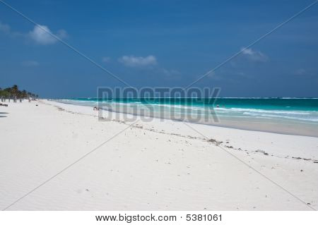 Tulum White Beach In Mexico
