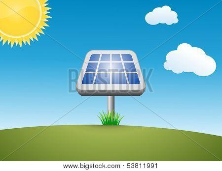 Solar energy power plant. Alternative solar energy. Meadow against a blue sky. Vector illustration