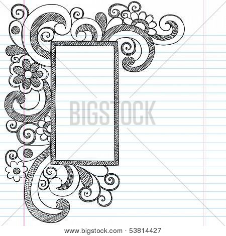 Rectangle Picture Frame Border Back to School Sketchy Notebook Doodles- Illustration Design Element on Lined Sketchbook Paper Background