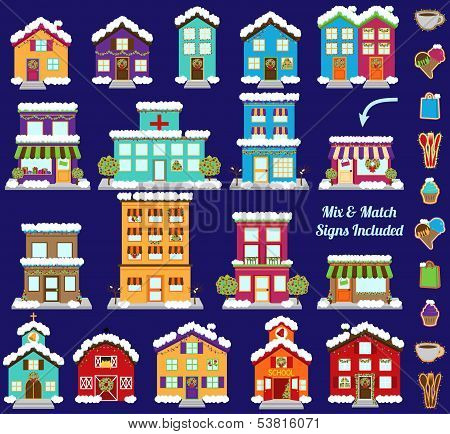 Collection of Vector Christmas or Winter City and Town Buildings with Mix and Match Signs