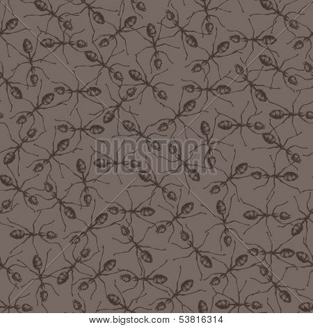 Seamless background with ants colony Vector Hand drawn