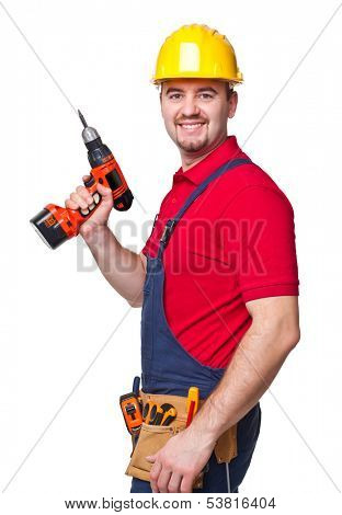 smiling worker on white background