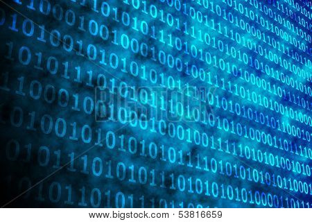 Shiny blue binary code on black background