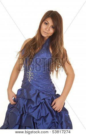 Woman Blue Formal Hands On Dress.