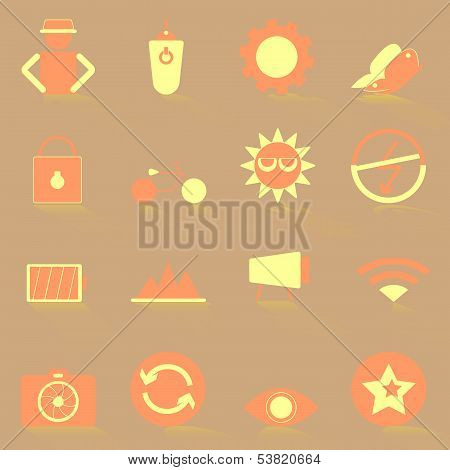 Photography Color Icons With Shadow