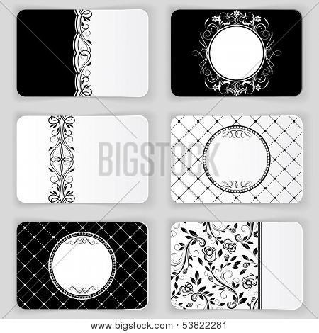 Black and white vintage business cards vector template.