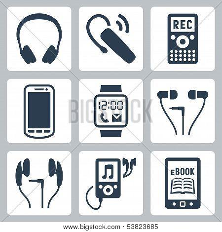 Vector Gadgets Icons Set: Headphones, Wireless Headset, Dictaphone, Smartphone, Smart Watch, Mp3 Pla