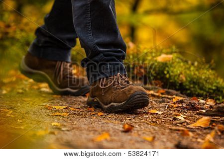 Close up of legs walking in narrow walkway in forest