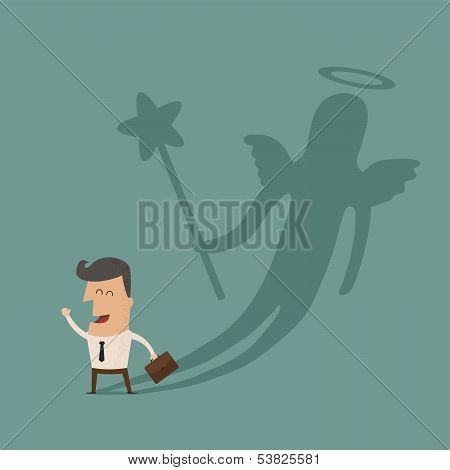 Businessman casting a angel shadow , eps10 vector format