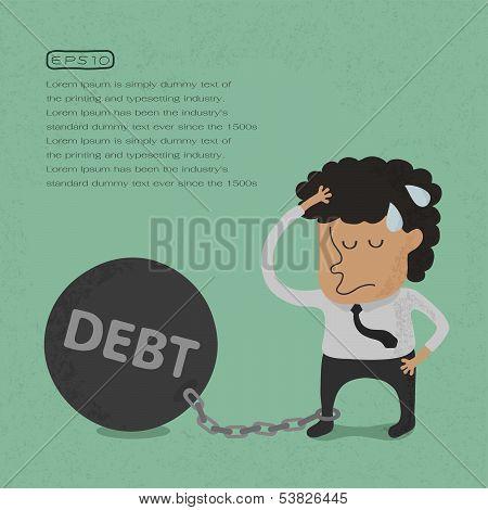Business man burden with Debt - Vector , eps10 vector format