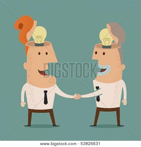 Business man get idea shake hands, eps10 vector format