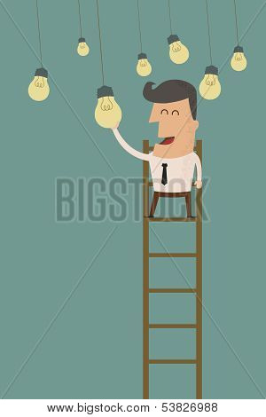 business man catching a light bulb , eps10 vector format