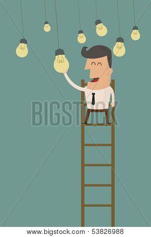 business man catching a light bulb , eps10 vector format
