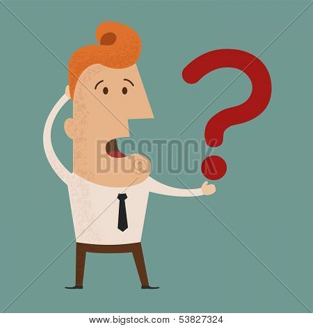 Business man scratches his head in indecision on a question mark  vector
