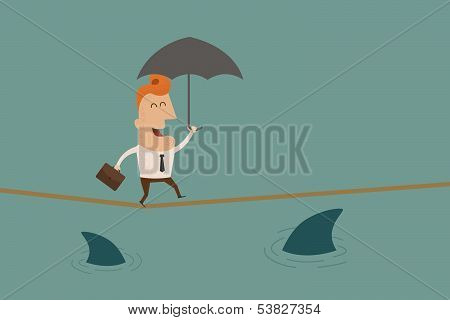 Businessman on a suspended rope  vector format